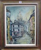 George Hahn (20th century), View towards Sacre Coeur, oil on board, signed, 46cm x 35.5cm.