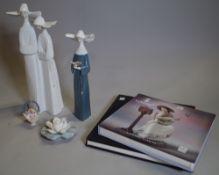 Lladro, Prayerful Moment, 5500, boxed, 27cm high, Nuns, 4611, boxed, 6cm high, A Basket of Blossom,
