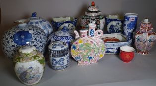 Asian ceramics, including; 20th century blue and white ginger jars, vases and sundry, (qty).
