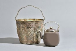 A polished Yixing teapot and cover made for the Thai market, with Thai silver holder,