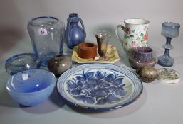 Ceramics, including; a Whitefriars style glass vase, a Chinese export tankard,