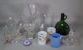 A group of glassware, 19th/20th century, to include a tall `jacobite' type engraved goblet,