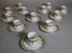 A modern Limoges gilt and green coffee set, retailed by Asprey,