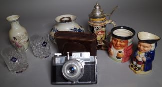 A small group of ceramics and collectables, including; cased camera toby jugs, Asian vase,