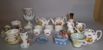 Ceramics, including; Hammersley china part tea set decorated with fruit and flowers,