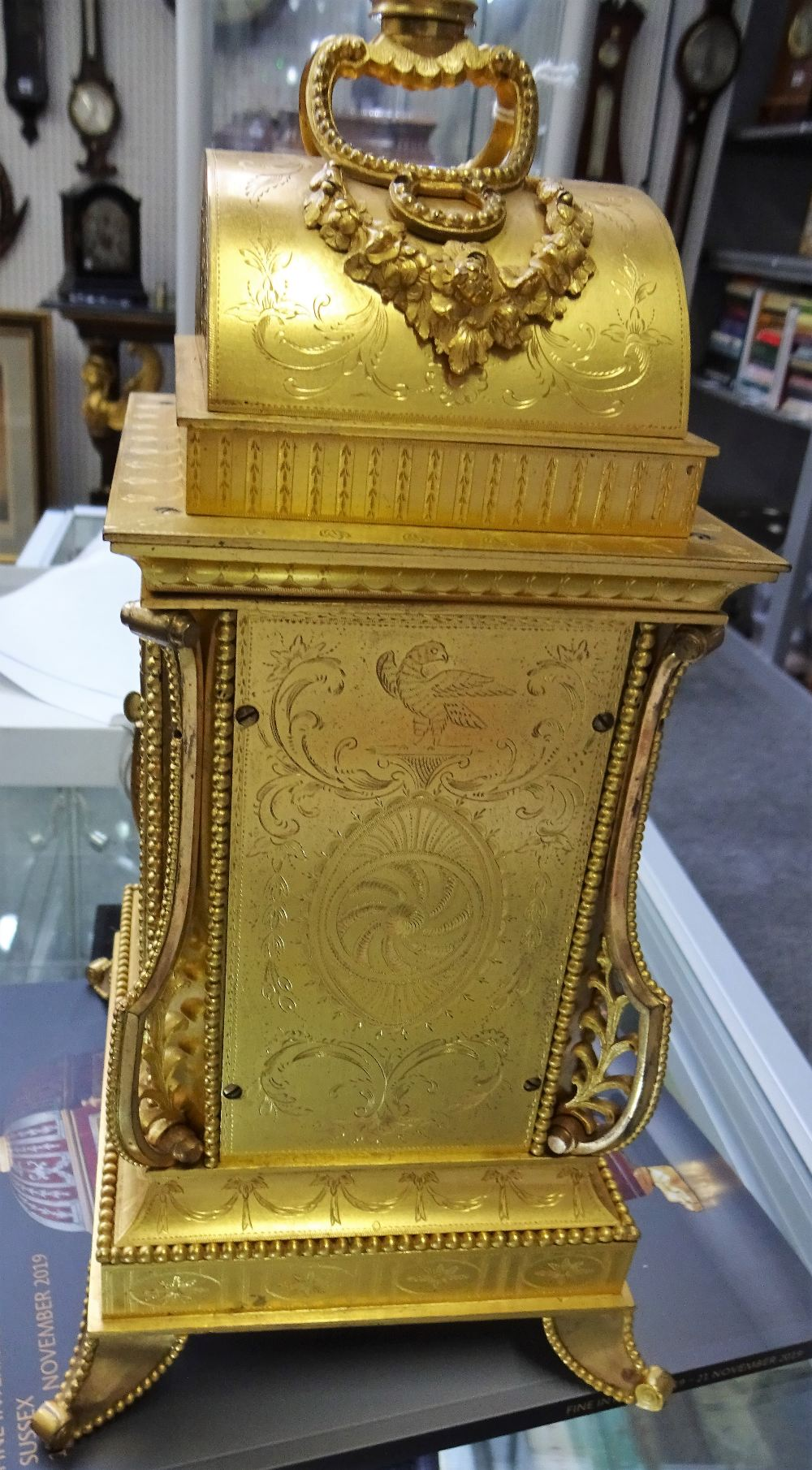 Lot 697 - A rare Chinese ormolu and paste-set mantel clock In the style of John Mottram or Henry Borrell,