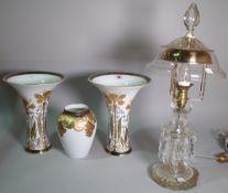 Handgemalt, Classic Rose, a pair of porcelain vases, with gilt decoration, 22cm wide x 28cm high,