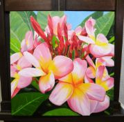 Valerie Brown (20th century), Pink Frangipani; Through the trees, two, oil on canvas, both signed,