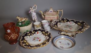 Ceramics, including; a group of 18th century and later ceramics, including lustre plates,