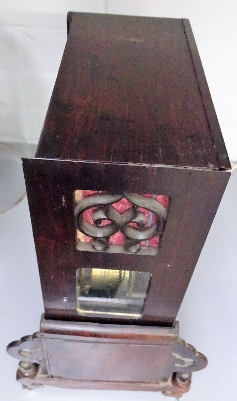 Lot 698 - A Chinese hardwood and mother-of-pearl inlaid table clock 19th century The case with a glazed