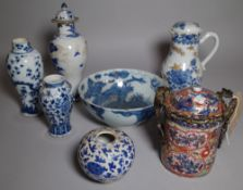 Asian ceramics,a group of 18th century and later decorative vases, mainly blue and white, (qty).