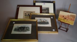 A group of four 20th century reproduction prints of pointers and an oil depicting a pointer, (5).