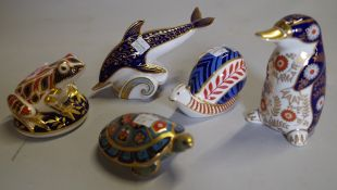 A group of five Royal Crown Derby imari pattern paperweights, comprising; terrapin, snail, dolphin,