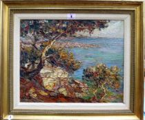 C** Vugurd (20th century), Mediterranean coastal scene, oil on board, signed,