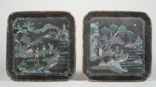 A pair of Chinese laque burgauté small dishes, 18th century, of square form with canted corners,