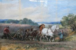 Harden Sidney Melville (1855-1904), The plough team, watercolour, signed and dated 1871,