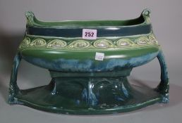 An Austrian green and turquoise Art Nouveau jardiniere, (a.f).