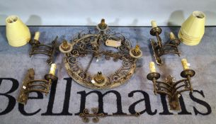 A 20th century wrought iron chandelier and four matching wall lights, (5).