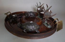 A Victorian mahogany twin handle circular tray, 49cm diameter,