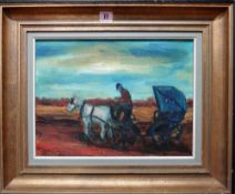 Pierre Goossens (b.1931), Horse and trap, oil on canvas, signed, 28cm x 38.5cm.