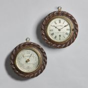 A circular oak rope-twist carved wall timepiece and ensuite aneroid barometer Signed Cox & Coombes,