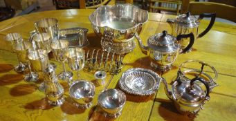 Plated wares, comprising; punch bowl, entree dish, tea pot, coffee pot, six goblets and sundry,