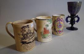 Ceramics, comprising; two 19th century Staffordshire tankards, 12cm high,
