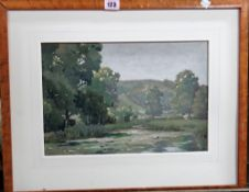 C. Jeffcock (20th century), Wooded river scene, watercolour, signed and dated 1925, 24cm x 35cm.