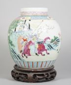 A Chinese famille-rose oviform jar and cover, early 20th century,
