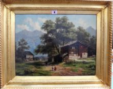 Continental School (19th century), Alpine scene, oil on canvas board, 37cm x 48cm.