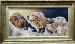 Glynis Mills (20th century), Silverton Foxhounds, oil on canvasboard, signed, 19cm x 39.5cm.