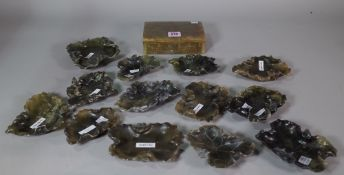 A 20th century onyx table cigarette box and a quantity of Asian hardstone dishes, (14).