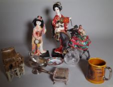 Collectables, mainly Asian, including; a group of 20th century decorative items, dolls,