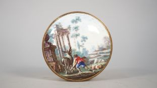 A French circular enamel box and cover, late 18th century,