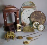 Horological interest comprising; a group of 19th century and later clock parts and cases, (qty).