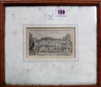 A group of five, including a pencil drawing of a country house, indistinctly signed,
