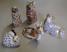 A group of five Royal Crown Derby imari pattern paperweights, comprising; a ram, a donkey foal,