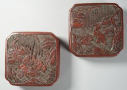 A pair of Chinese cinnabar lacquer boxes and covers, 19th century,