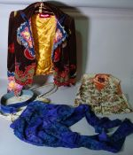 Clothing, comprising; a Mulberry waistcoat, sage green with floral pattern, ladies size L,