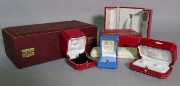A group of modern empty jewellery boxes including; Cartier, Theo Fennel, Gerrard and sundry.