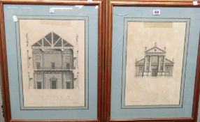 After Inigo Jones, Six architectural designs, engravings, various sizes,