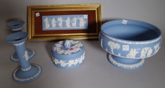 A group of Wedgwood blue jasper, 20th century, comprising; a bowl sprigged with classical figures,