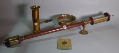 A 20th century mahogany and brass mounted gimble stick barometer and a small group of brass, (qty).