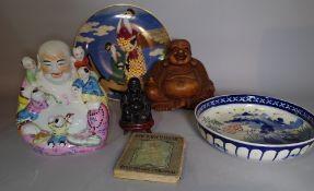 Asian interest, a group of Asian ceramics, including a porcelain Buddah, bowl,