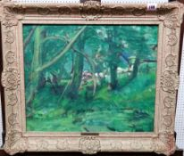 E. Bott (20th century), Wooded scene, oil on board, 38cm x 46cm.