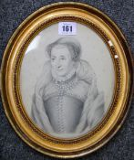 A hand tinted lithograph, possibly of Mary Queen of Scots.