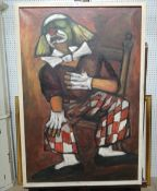 Pierre Goossens (b.1931), Clown, oil on canvas, signed, 89cm x 59cm.