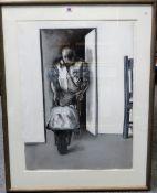 Carlos Sapochnik (20th century), Wheelbarrow man no.7, charcoal, 75cm x 56cm.