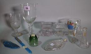 A group of glassware, comprising; a Bohemian blue glass miniature slipper,