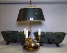 A Georgian style Bouillette style brass table lamp with adjustable green painted circular tin shade,